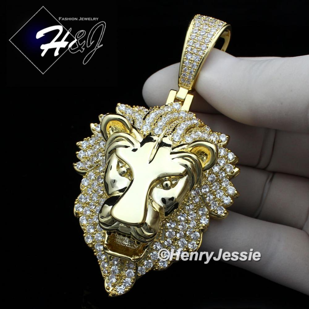 MEN 14K WHITE GOLD FINISH ICED OUT BLING GOLD LION KING HEAD PENDANT*GBP5
