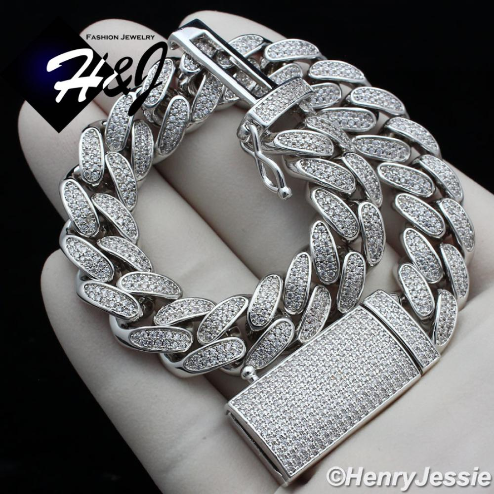 "8.5""MEN 14K WHITE GOLD FINISH 12MM ICED OUT BLING SILVER MIAMI CUBAN CHAIN BRACELET*BB4"
