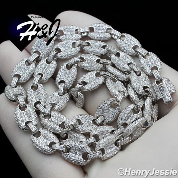 "8.5""18""20""24""MEN 925 STERLING SILVER 8MM ICED LAB DIAMOND MARINER GUCCI LINK BRACELET OR NECKLACE*SN18"