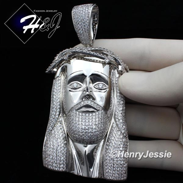 MEN 14K WHITE GOLD FINISH ICED OUT BLING OVERSIZE SILVER JESUS FACE PENDANT*BP4