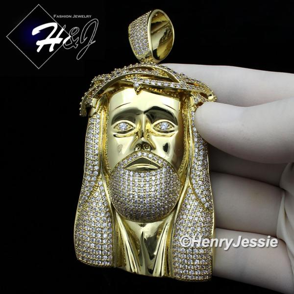 MEN 14K WHITE GOLD FINISH ICED OUT BLING OVERSIZE GOLD JESUS FACE PENDANT*GBP4
