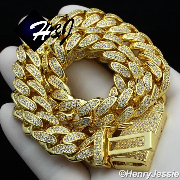 "18""-24""MEN 14K GOLD FINISH 12MM GOLD ICED OUT BLING MIAMI CUBAN CURB CHAIN NECKLACE*GBN4"
