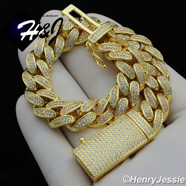 "8.5""MEN 14K GOLD FINISH 12MM GOLD ICED OUT BLING SILVER MIAMI CUBAN CHAIN BRACELET*GBB4"