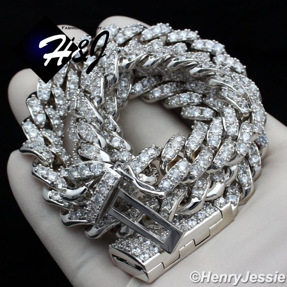 "18""-24""MEN 14K WHITE GOLD FINISH 12MM SILVER ICED OUT BLING PRONG SET CUBAN CURB CHAIN NECKLACE*BN5"