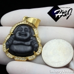 MEN Stainless Steel Jade/Onyx/Blue/Pink/White Gemstone Gold ICED Buddha Pendant*GP117
