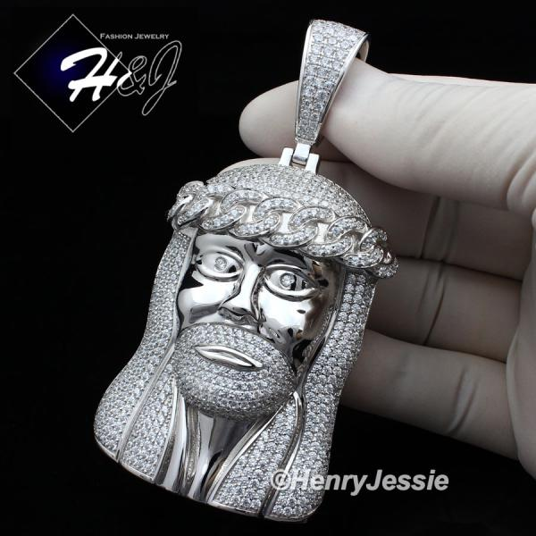 MEN 925 STERLING SILVER LAB DIAMOND ICED BLING BIG JESUS FACE CHARM PENDANT*SP242