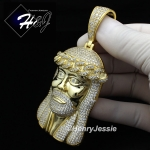 MEN 925 STERLING SILVER LAB DIAMOND ICED BLING BIG GOLD JESUS FACE CHARM PENDANT*GP242