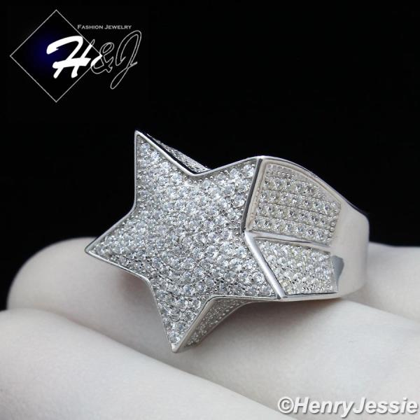 MEN 925 STERLING SILVER LAB DIAMOND ICED BLING 3D STAR RING*SR107