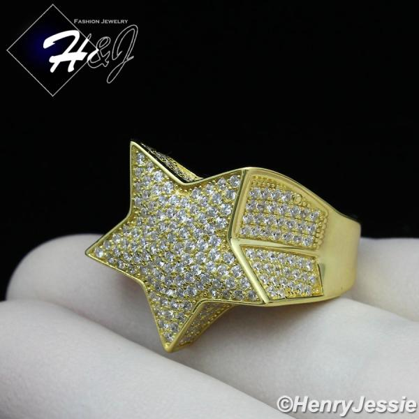 MEN 925 STERLING SILVER LAB DIAMOND BLING GOLD 3D STAR RING*GR107