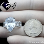 WOMEN 925 STERLING SILVER PEAR SHAPED FULL BLING CZ SILVER ENGAGEMENT RING*SR129