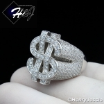 MEN 925 STERLING SILVER LAB DIAMOND ICED BLING SILVER $ DOLLAR SIGN RING*SR133