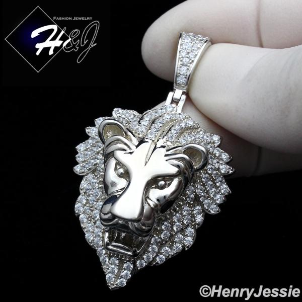 MEN 925 STERLING SILVER ICY LAB DIAMOND SILVER 3D LION KING HEAD PENDANT*SP264