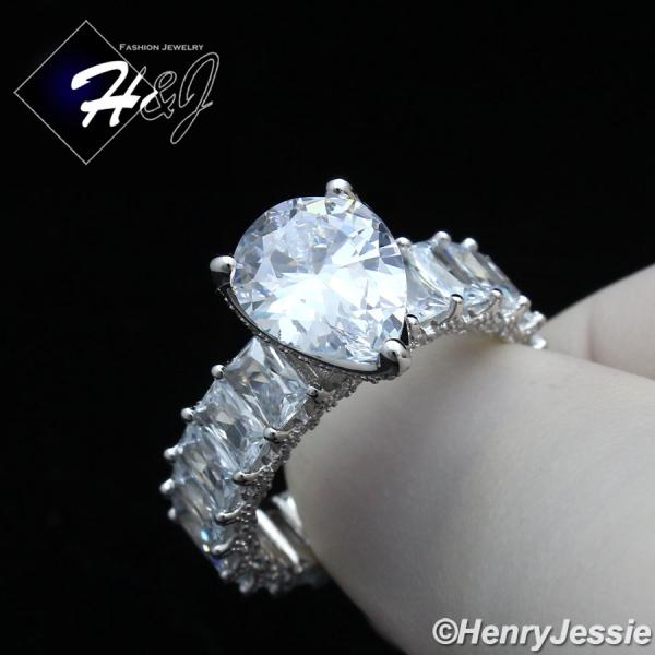 WOMEN 925 STERLING SILVER PEAR SHAPED FULL BLING CZ SILVER ENGAGEMENT RING*SR132