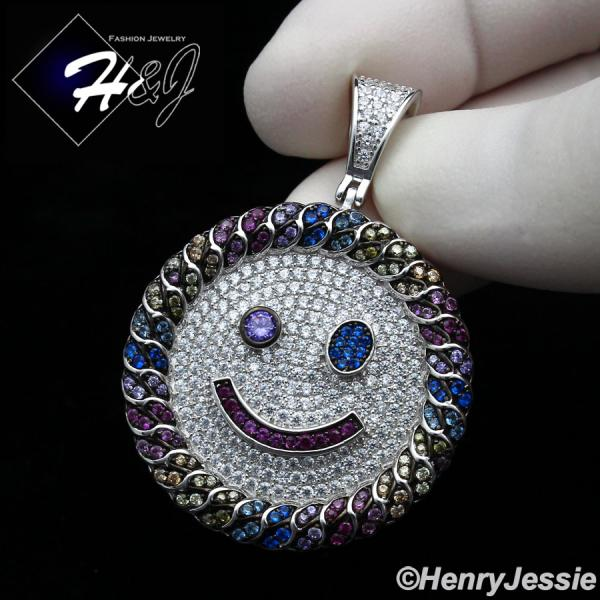 MEN WOMEN 925 STERLING SILVER FULL ICY COLORED CZ HAPPY FACE ROUND PENDANT*SP266