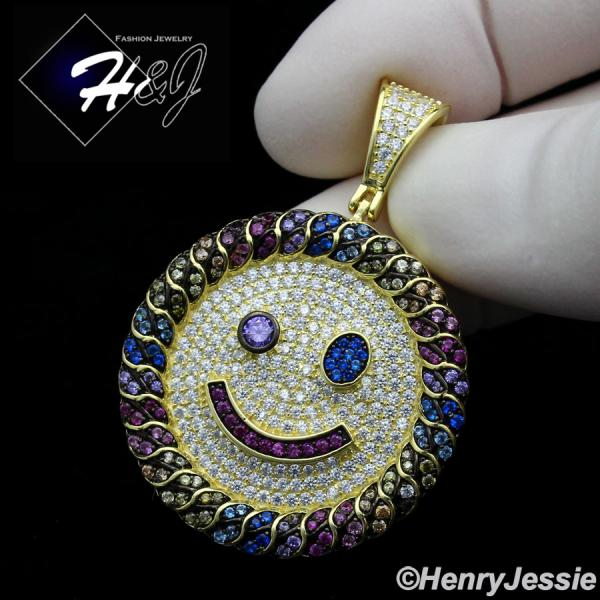 MEN WOMEN 925 STERLING SILVER FULL ICY COLORED CZ GOLD HAPPY FACE ROUND PENDANT*GP266