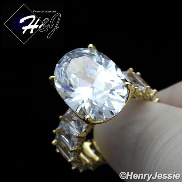 WOMEN 925 STERLING SILVER CLEAR OVAL SHAPED FULL ICY BLING CZ GOLD ENGAGEMENT RING*GR134