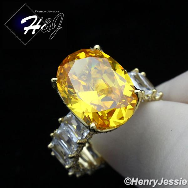 WOMEN 925 STERLING SILVER YELLOW OVAL SHAPED FULL ICY BLING CZ GOLD ENGAGEMENT RING*GR134