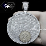 MEN 14K WHITE GOLD FINISH LAB DIAMOND OVERSIZE HEAVY ICED SILVER ROUND CHARM PENDANT*BP11