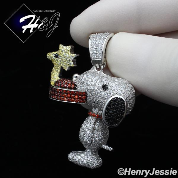 MEN 925 STERLING SILVER FULL ICY LAB DIAMOND 3D SNOOPY DOG CHARM PENDANT*SP267