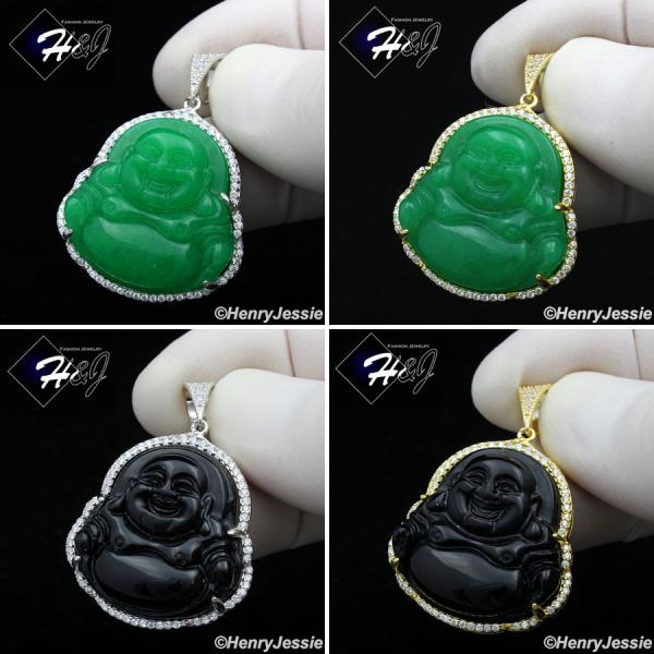 MEN 925 STERLING SILVER BLACK ONYX/JADE GOLD/SILVER BLING BUDDHA PENDANT*SP236