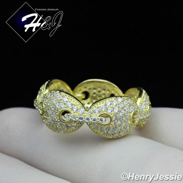MEN WOMEN 925 STERLING SILVER LAB DIAMOND BLING GOLD GUCCI MARINER LINK RING*GR108