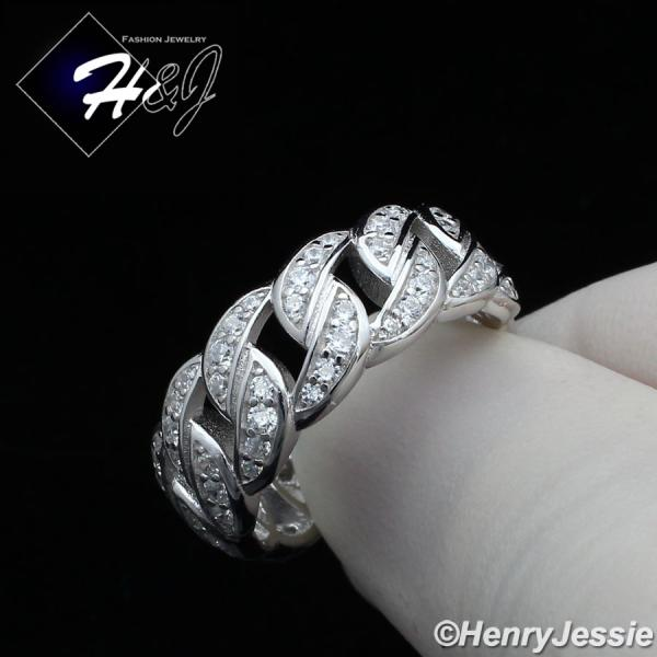 MEN WOMEN 925 STERLING SILVER FULL ICY LAB DIAMOND BLING CUBAN CURB LINK RING*SR128