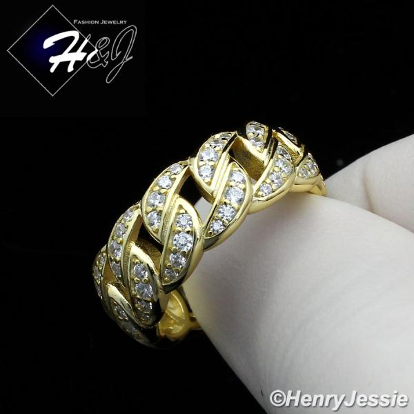 MEN WOMEN 925 STERLING SILVER FULL ICY LAB DIAMOND BLING GOLD CUBAN CURB LINK RING*GR128